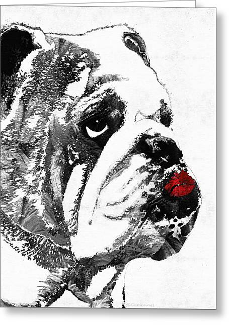 White Dog Greeting Cards - Bulldog Pop Art - How Bout A Kiss 2 - By Sharon Cummings Greeting Card by Sharon Cummings