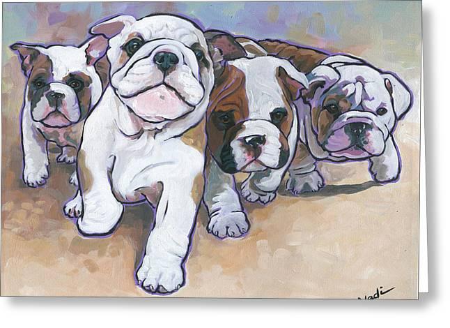 Bulldog Puppies Greeting Card by Nadi Spencer