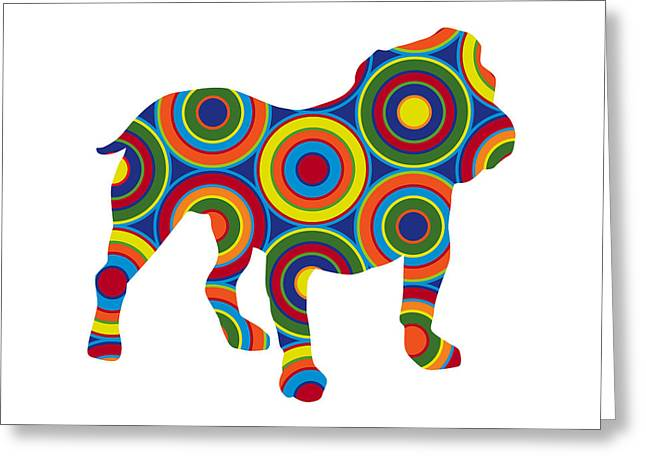 """abstract Art"" Greeting Cards - Bulldog Greeting Card by Ron Magnes"