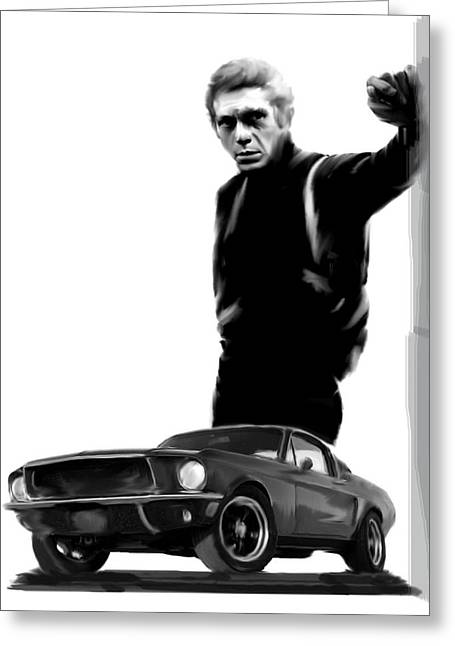 Bullitt Cool  Steve Mcqueen Greeting Card by Iconic Images Art Gallery David Pucciarelli