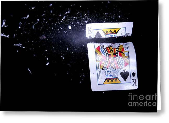 Playing Cards Greeting Cards - Bullet Hitting A Playing Card Greeting Card by Ted Kinsman