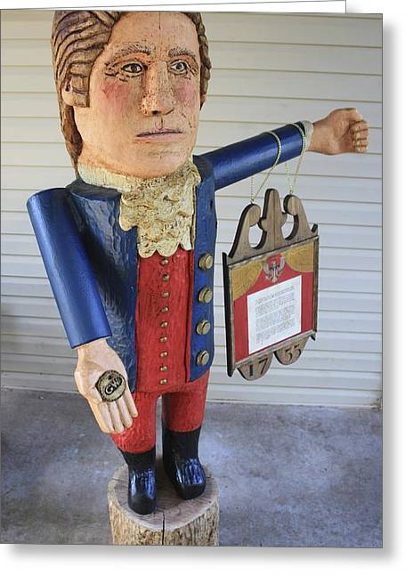 Carved Sculptures Greeting Cards - Bullet Proof George Washington Greeting Card by James Neill