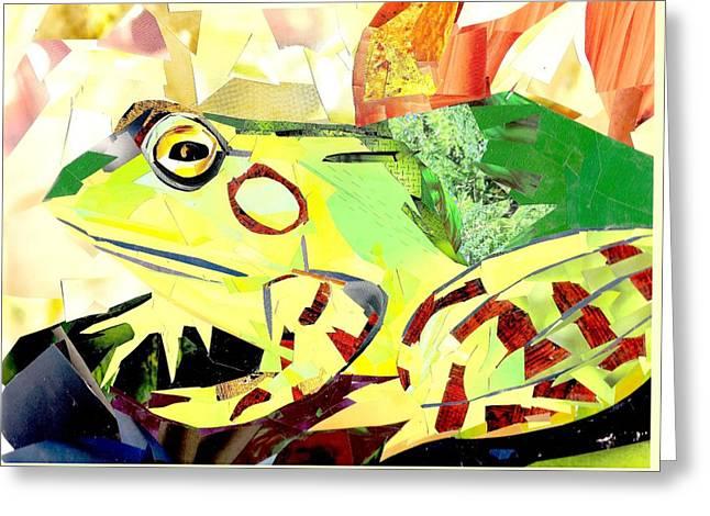 Tadpoles Mixed Media Greeting Cards - Bullfrog Greeting Card by Paul Frederick Bush