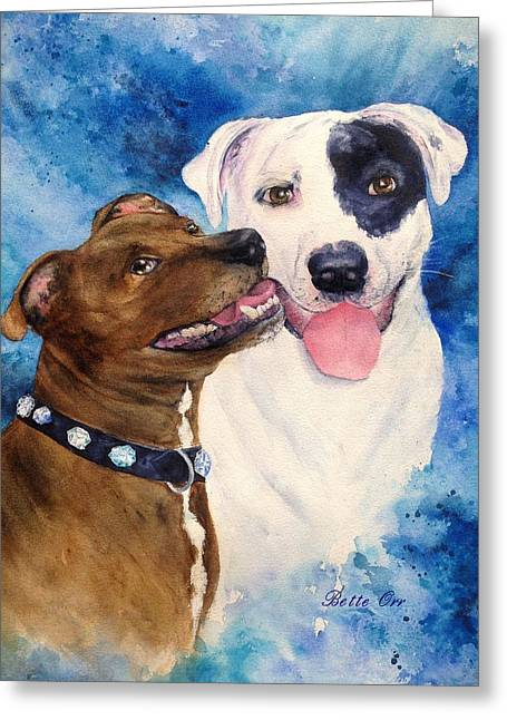 Bully Greeting Cards - Bullie Buds Greeting Card by Bette Orr