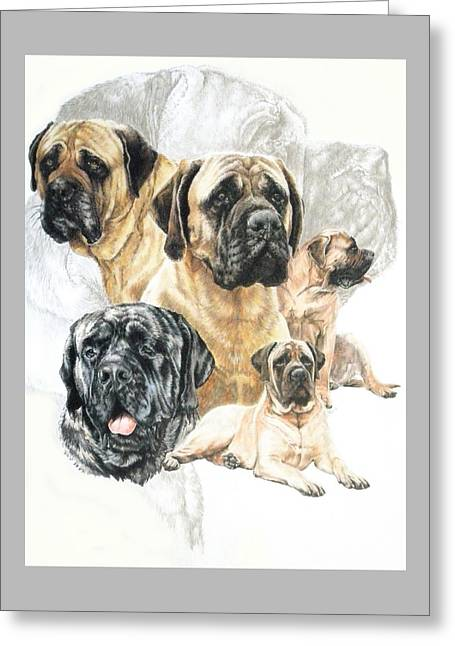Working Dog Greeting Cards - Bullmastiff and Ghost Image Greeting Card by Barbara Keith