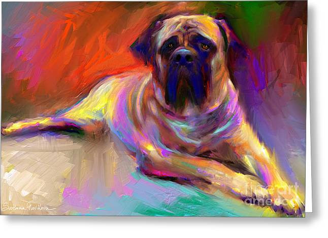 Vibrant Greeting Cards - Bullmastiff dog painting Greeting Card by Svetlana Novikova