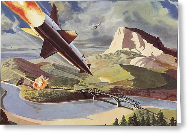 Jet Greeting Cards - Bullpup Air To Surface Missile Greeting Card by American School