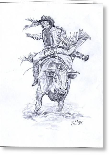 Bull Rider Greeting Cards - Bullrider Greeting Card by Jana Goode