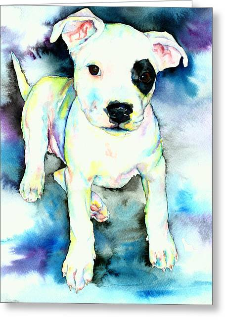 White Dogs Greeting Cards - Bullseye Greeting Card by Christy  Freeman
