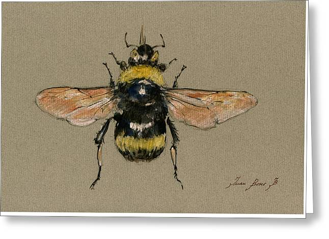 Bee Greeting Cards - Bumble bee art wall Greeting Card by Juan  Bosco