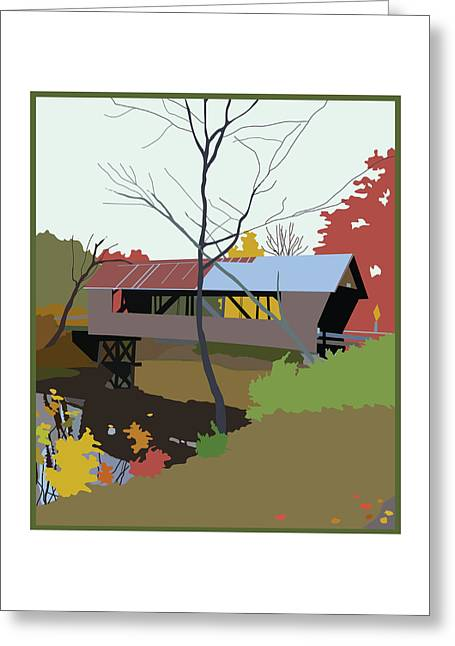 Fall Trees Greeting Cards - Bump Bridge Greeting Card by Marian Federspiel