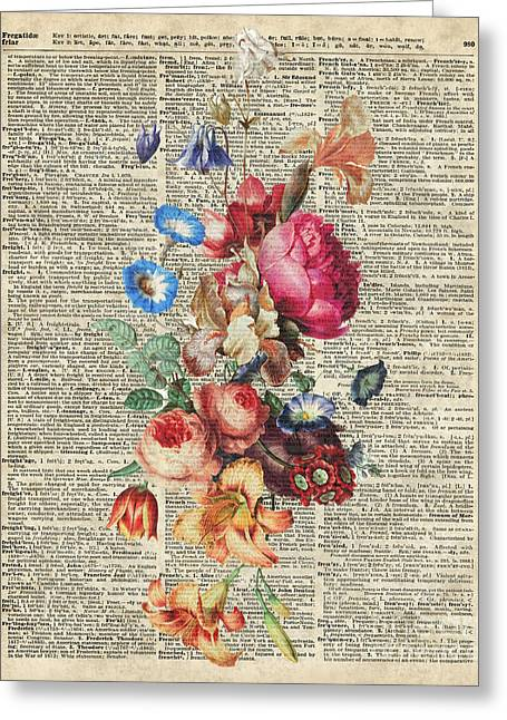 Occasion Mixed Media Greeting Cards - Bunch of Colorful Flowers Greeting Card by Jacob Kuch