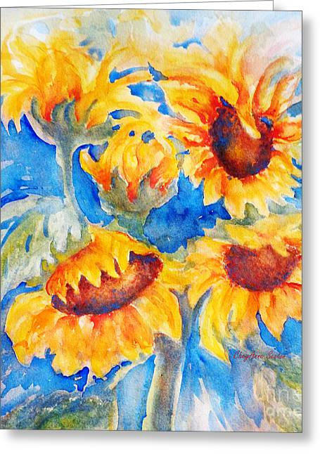 Yellow Sunflower Greeting Cards - Bunch of Dancing SunFlowers watercolor Greeting Card by CheyAnne Sexton