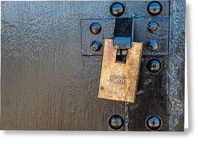 Decorate Greeting Cards - Bunker Door Lock Greeting Card by Paul Freidlund
