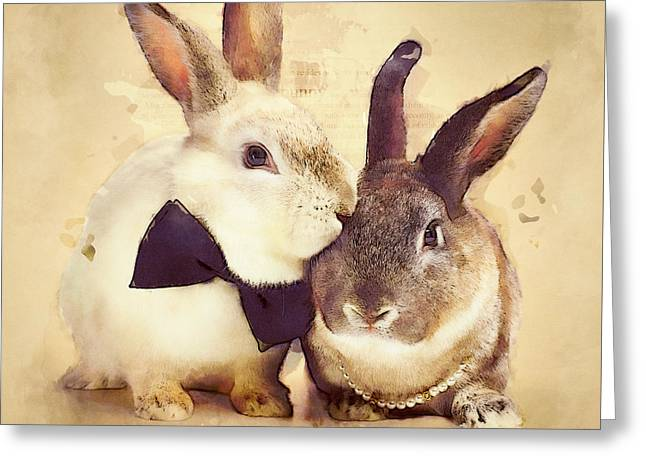 Bunnies Are In Love Greeting Card by Bekare Creative