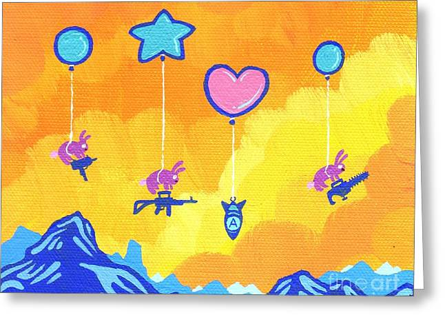 Flying Animal Paintings Greeting Cards - Bunnies are Not to be Trusted Greeting Card by Dan Keough