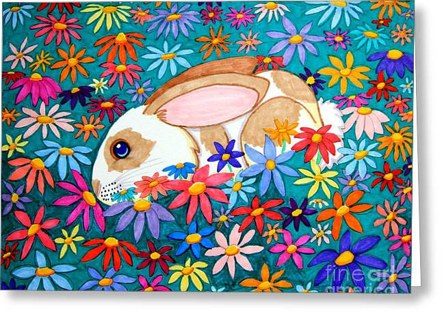 Rabbit Drawings Greeting Cards - Bunny and flowers Greeting Card by Nick Gustafson