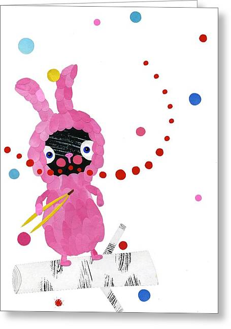 Dot Greeting Cards - Bunny Greeting Card by Anne Vasko