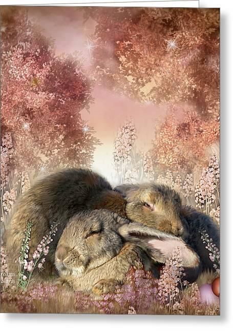 Wildlife Art Greeting Cards Greeting Cards - Bunny Dreams Greeting Card by Carol Cavalaris