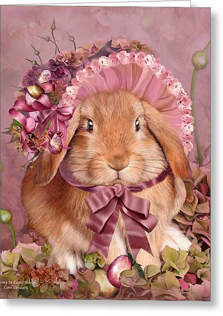 Lop Greeting Cards - Bunny In Easter Bonnet Greeting Card by Carol Cavalaris