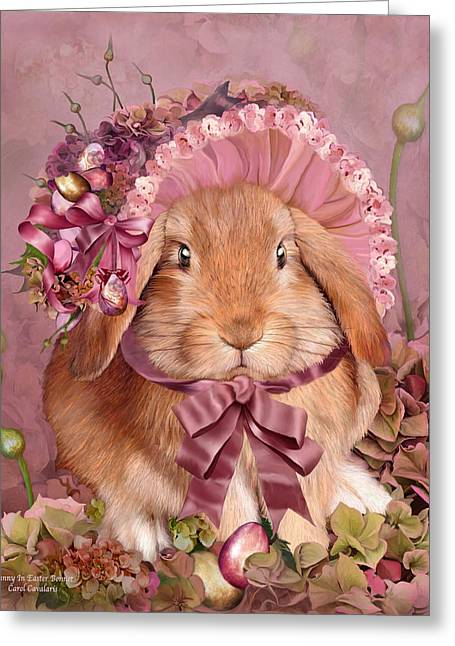 Bunny In Easter Bonnet Greeting Card by Carol Cavalaris