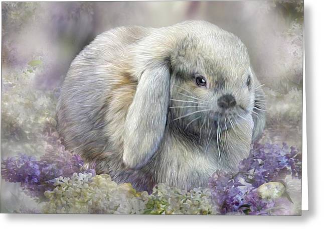 Cute Mixed Media Greeting Cards - Bunny In Easter Lilacs Greeting Card by Carol Cavalaris