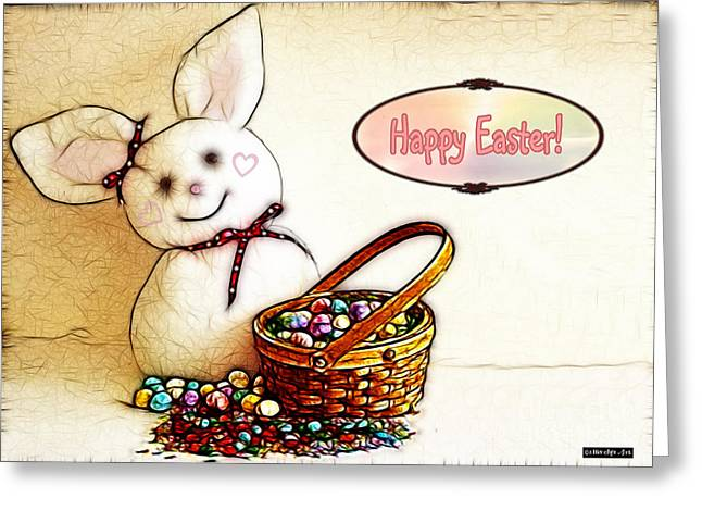 Pink Nose Greeting Cards - Bunny N Eggs Card Greeting Card by Methune Hively