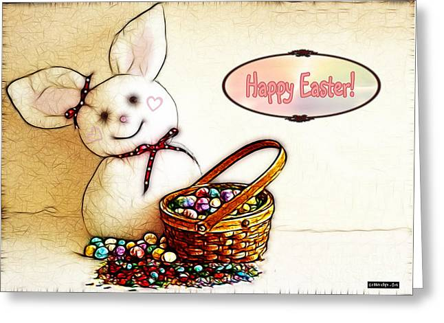 Children Digital Art Greeting Cards - Bunny N Eggs Card Greeting Card by Methune Hively
