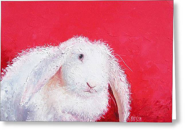 Bunny Painting 'lucinda' By Jan Matson Greeting Card by Jan Matson
