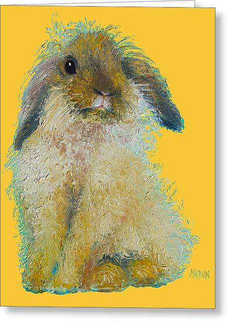 Bunny Painting On Yellow Background Greeting Card by Jan Matson