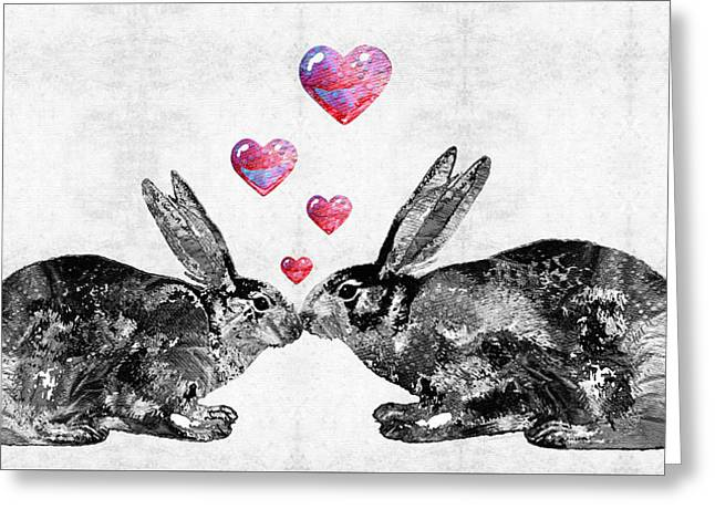 Rabbit Greeting Cards - Bunny Rabbit Art - Hopped Up On Love 2 - By Sharon Cummings Greeting Card by Sharon Cummings