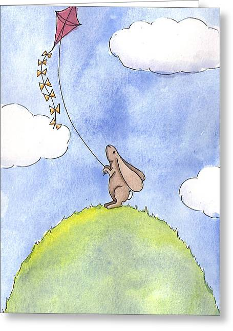 Hare Greeting Cards - Bunny with a Kite Greeting Card by Christy Beckwith