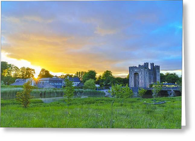 Castle Pyrography Greeting Cards - Bunratty Castle last sunlight Greeting Card by Niall Cosgrove