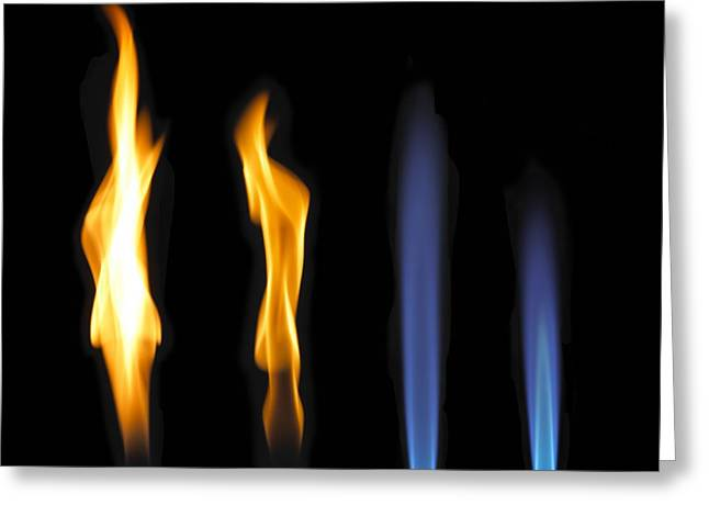 Quartet Greeting Cards - Bunsen Burner Flame Sequence Greeting Card by Spl