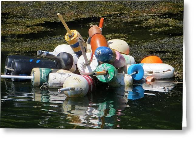Fishing Boats Greeting Cards - Buoys Greeting Card by Cindy Kellogg