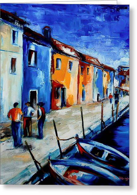 Glass Facades Greeting Cards - Burano Conversation Greeting Card by Elise Palmigiani