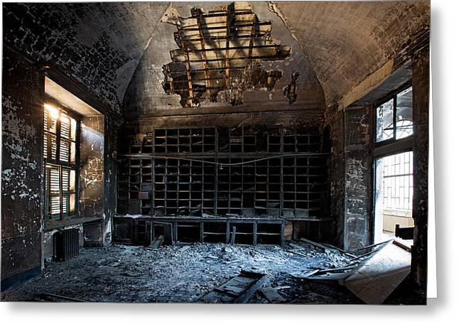 Soot Greeting Cards - Bureaucracy Exploded - Urbex Greeting Card by Dirk Ercken