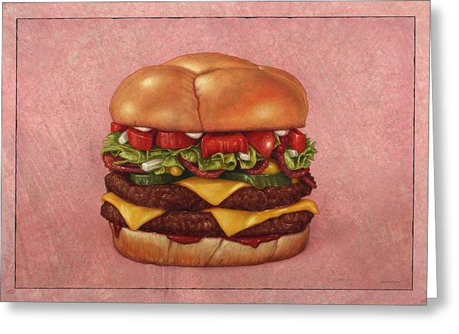 Cheeseburger Drawings Greeting Cards - Burger Greeting Card by James W Johnson