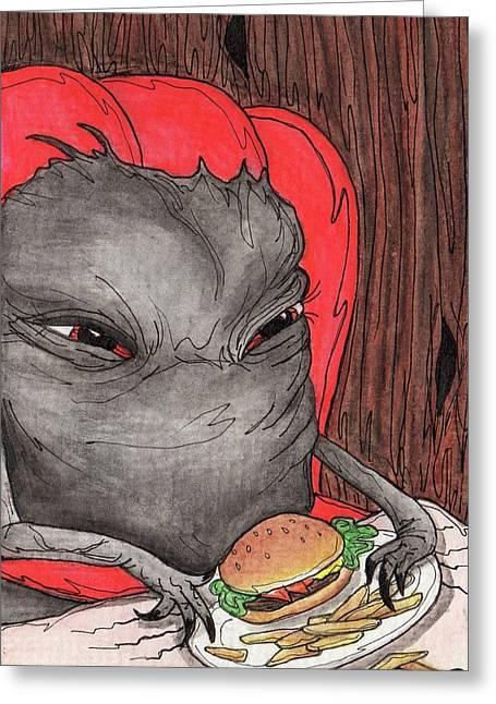 Burger Meister Greeting Card by Julie McDoniel