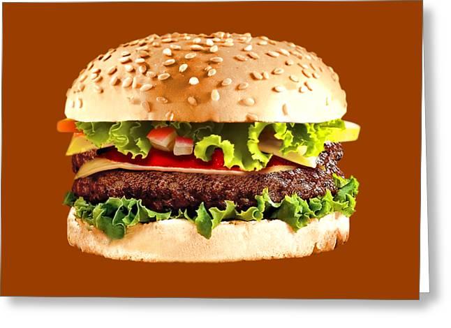 Burger Sndwich Hamburger Greeting Card by T Shirts R Us -