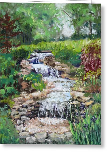 Water Garden Pastels Greeting Cards - Burgess Water Garden Greeting Card by Lorraine McFarland