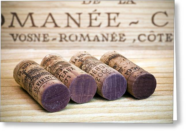 Burgundy Wine Corks Greeting Card by Frank Tschakert