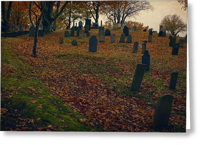 Plymouth Massachusetts Greeting Cards - Burial Hill Greeting Card by Joan Carroll
