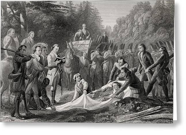 White River Scene Drawings Greeting Cards - Burial Of General Edward Braddock In Greeting Card by Vintage Design Pics