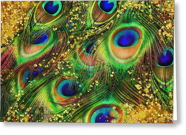 Buried Treasure, Fantasy Peacock Feathers Laden With Gold Greeting Card by Tina Lavoie
