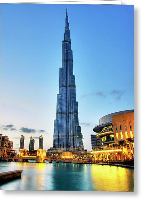Fountain Greeting Cards - Burj Khalifa Sunset Greeting Card by Shawn Everhart