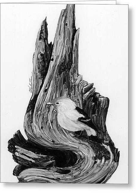 Bird On Tree Drawings Greeting Cards - Burl Bird Greeting Card by Charles Valentine