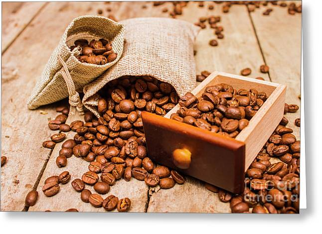 Burlap Bag Of Coffee Beans And Drawer Greeting Card by Jorgo Photography - Wall Art Gallery