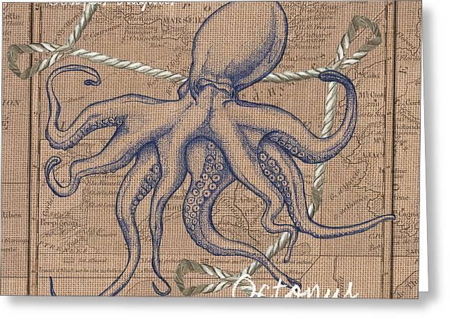 Burlap Octopus Greeting Card by Debbie DeWitt