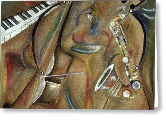 African-american Paintings Greeting Cards - Burlap Sax Greeting Card by Ikahl Beckford